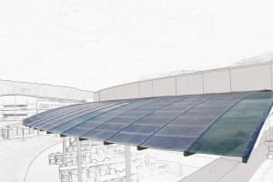 curved photovoltaic canopies